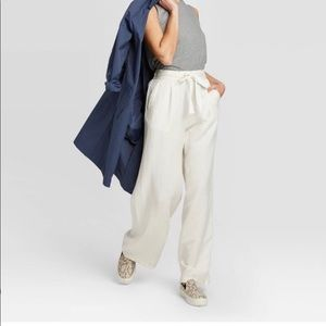 MERONA WIDE LEG WHITE LINEN PANTS